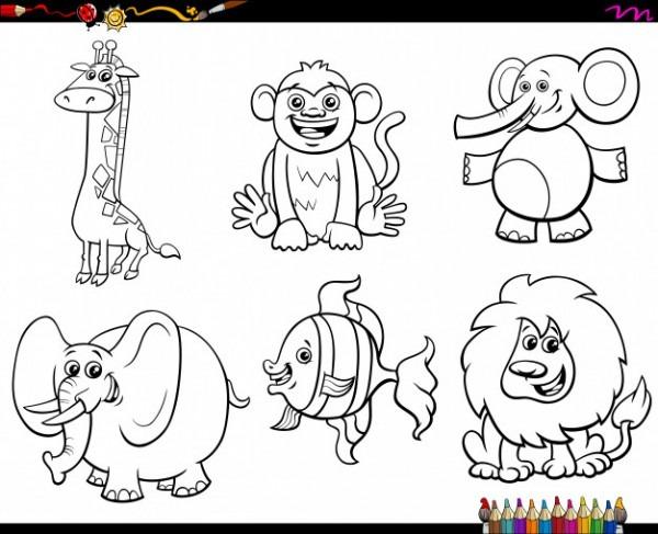 Conjunto De Personajes De Animales Para Colorear