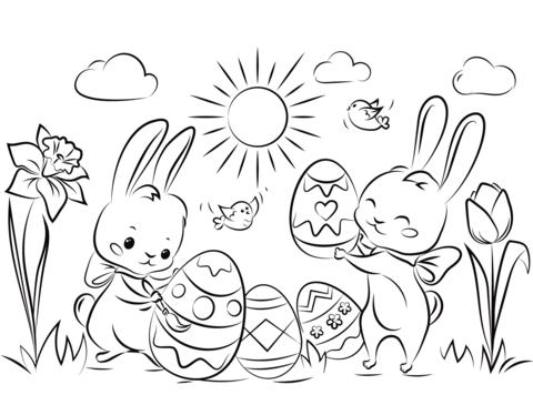 Dibujo De Preciosos Conejitos Con Huevos De Pascua Para Colorear