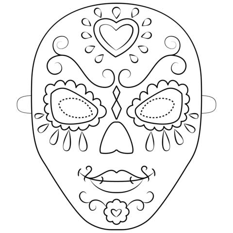 Dibujo De Mascara Del Dia De Los Muertos Para Colorear