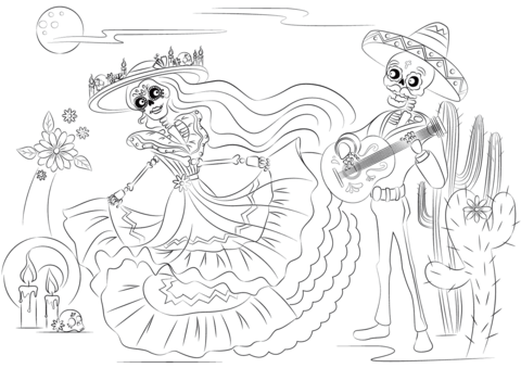 Dibujo De Escena Del Día De Los Muertos Para Colorear