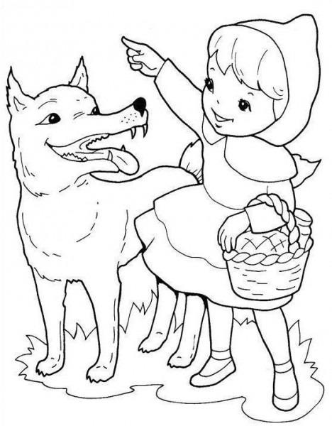 Caperucita Roja Y El Lobo Para Colorear