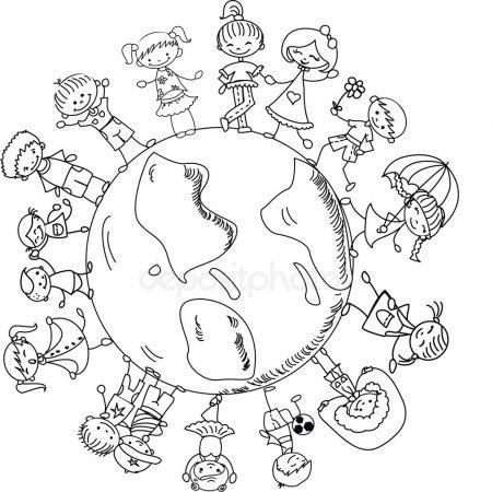 Vectores De Stock De Los Niños Alrededor Del Mundo, Ilustraciones