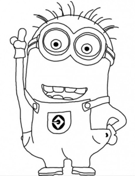 Two Eyed Minion Despicable Me Coloring Page For Kids