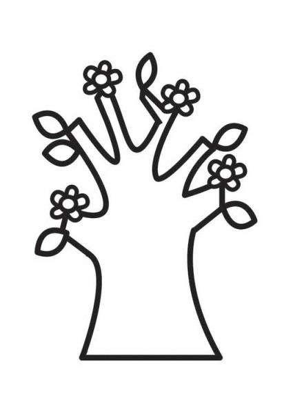 Dibujo Para Colorear árbol En Primavera Con Flores