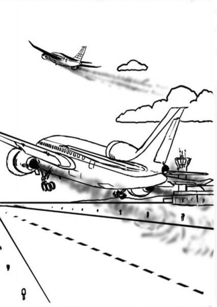 Dibujo Para Colorear Avión, Contaminación Del Aire