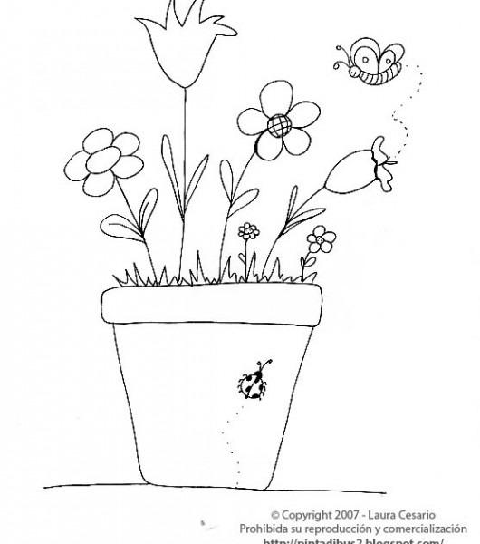 Dibujos Para Imprimir Y Colorear  Dibujo De Una Planta Con Flores