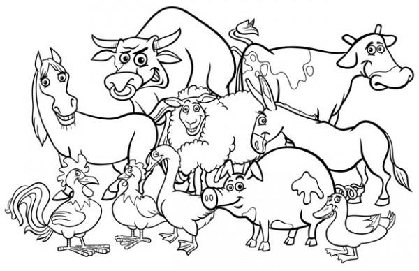 Dibujos Animados Animales De Granja Para Colorear