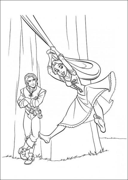 Dibujos Para Colorear De Tangled,enredados Rapunzel Saltando De La