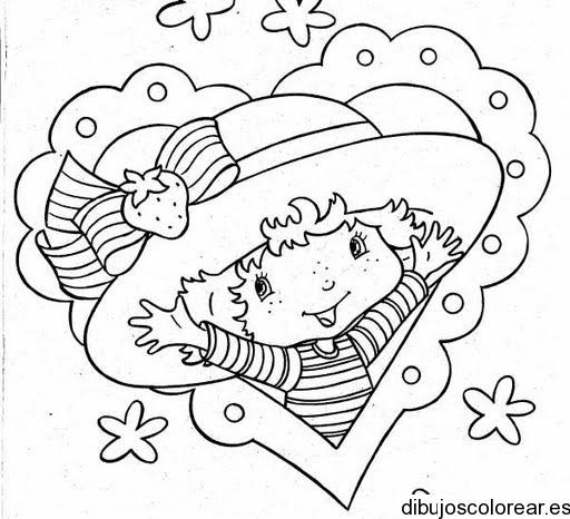 Dibujo De Rosita Fresita Dentro De Un Corazón