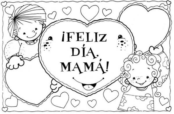 Feliz Dia De La Madre Con Nino Y Nina Para Colorear