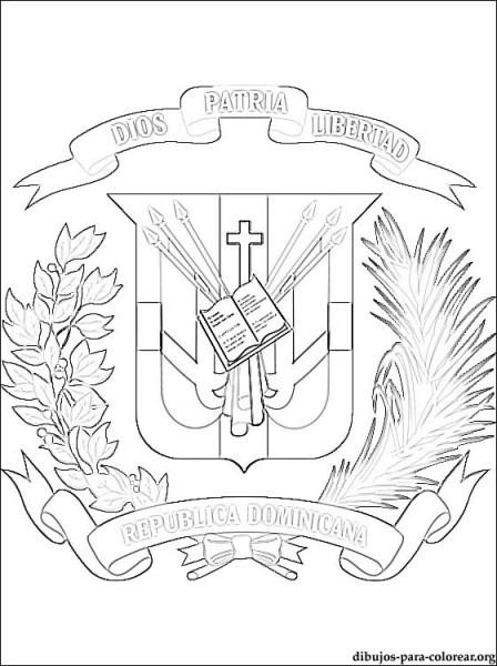 Escudo De La República Dominicana Para Colorear