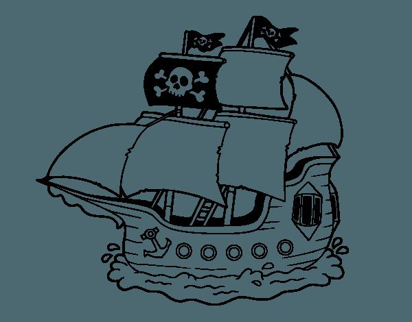 Pirate Ship  19 (transporte) – Páginas Para Colorear