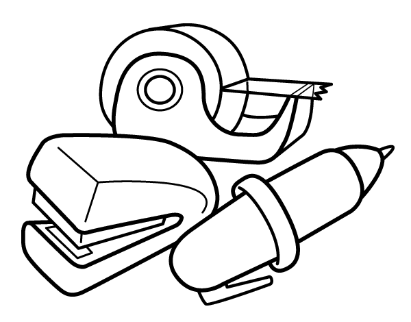 School Equipment  9 (objects) – Printable Coloring Pages