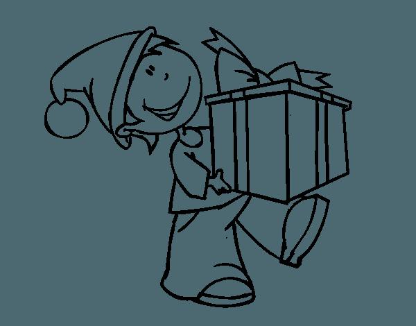 Dibujo De Niño Con Regalo Para Colorear