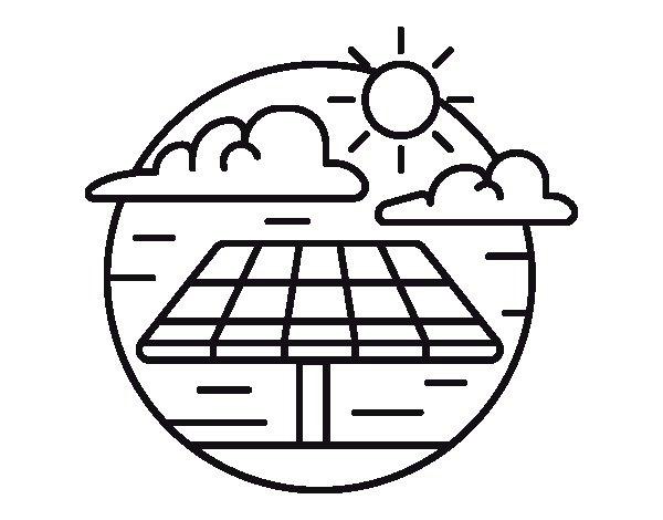 √ Dibujo De Energa Solar Para Colorear