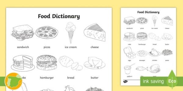 A1 Diccionario Para Colorear  La Comida En Inglés