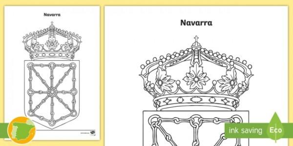 Hoja De Colorear  El Escudo De Navarra