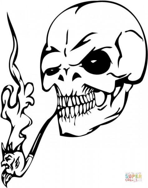 Dibujo De Calavera Fumando En Pipa Para Colorear