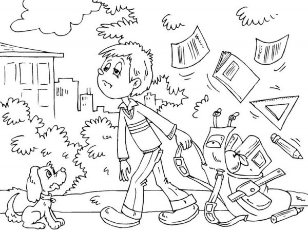 Dibujo Para Colorear  De Vuelta Al Colegio