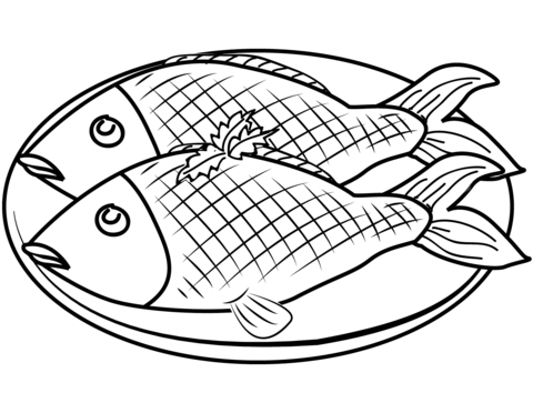 Dibujo De Plato Con Pescado Para Colorear