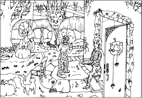 Dibujo De Fiesta De Halloween Con Un Payaso Para Colorear