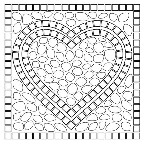 Dibujo De Mosaico En Forma De Corazón Para Colorear