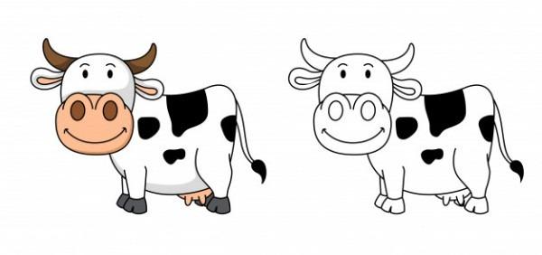 Ilustración De Vaca Educativa Para Colorear