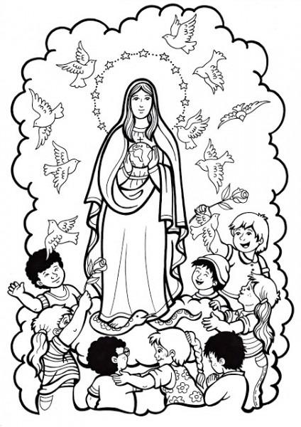 Imágenes De La Virgen María Para Niños Para Colorear (5