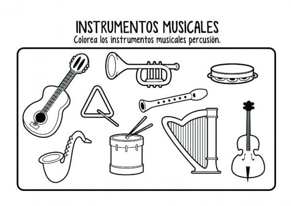 Instrumentos Musicales Con Nombres Para Colorear