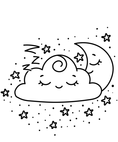 Dibujo De Kawaii Creciente Y Nube Para Colorear