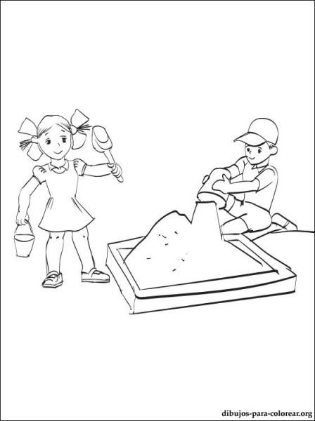 Dibujo De Niños Juegan En La Arena Para Colorear