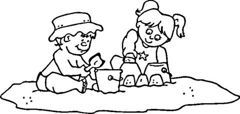 Dibujo De Niños Jugando En La Arena Para Colorear