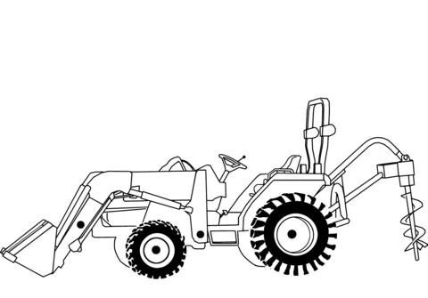 Dibujo De Tractor Excavadora Para Colorear