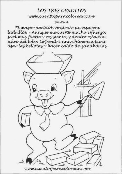 Cuentos Infantiles  Dibujos Para Colorear A Los Tres Cerditos Y El