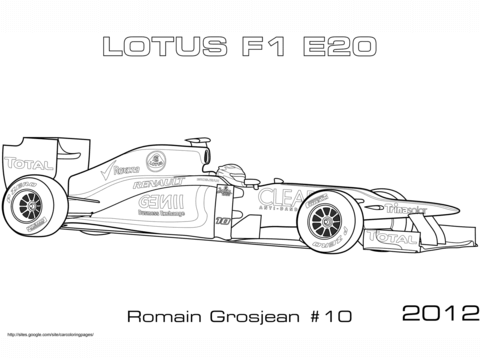 Dibujo De Coche De Fórmula 1 Lotus 2012 E20 Para Colorear