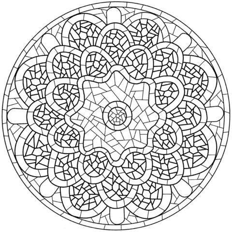Dibujo De Mandala Con Patrón De Mosaico Para Colorear