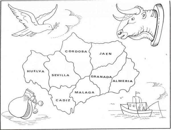 Mapa De Andalucia Para Colorear