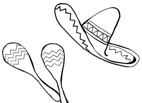 Dibujo De Maracas Y Sombrero Para Colorear