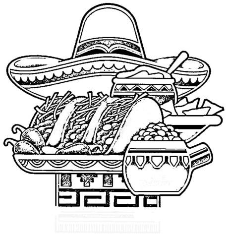 Dibujo De Comida Típica Mejicana Para Colorear