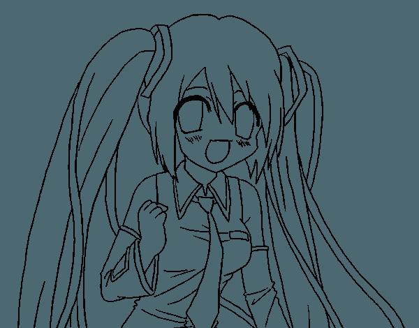 Dibujo De Miku Hatsune Vocaloid Para Colorear