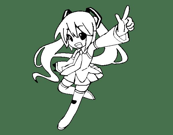 Dibujo De Miku Vocaloid Para Colorear