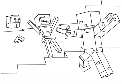 Dibujo De Steve Contra Skeleton De Minecraft Para Colorear