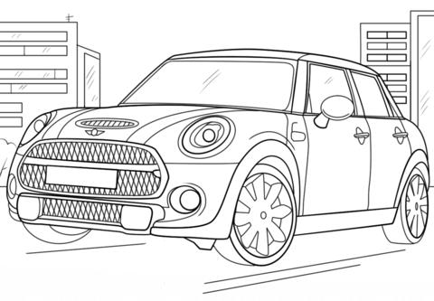 Dibujo De Mini Cooper Para Colorear