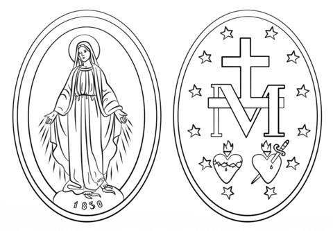 Dibujo De Medalla Milagrosa Para Colorear