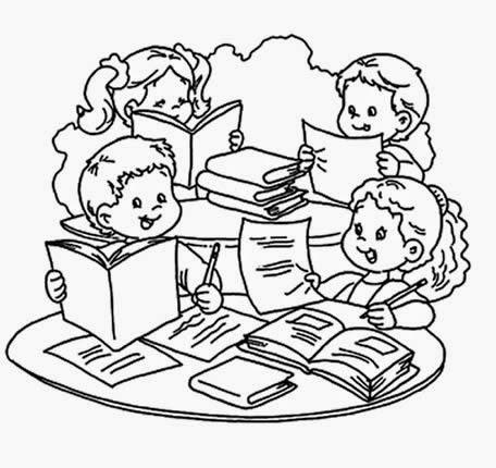 Dibujos Animados Para Colorear De Niños Escribiendo