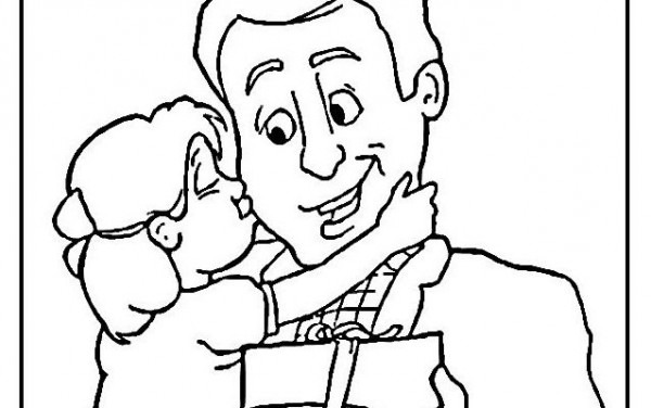 Hija Abrazando Y Besando A Su Papá