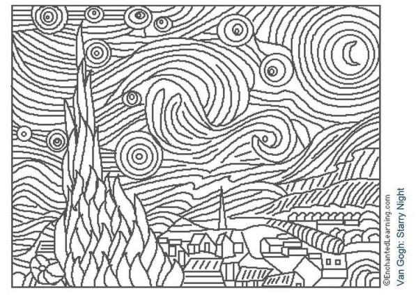 La Noche Estrellada De Vang Gogh  Dibujo