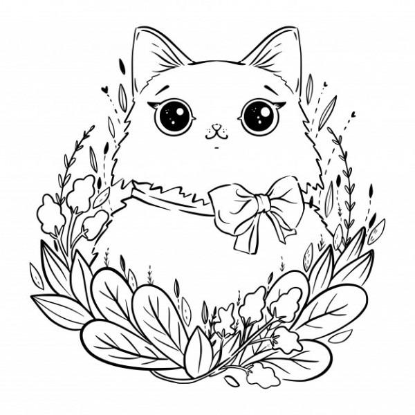 Página Para Colorear Con Dibujos Animados De Gato Mullido Con