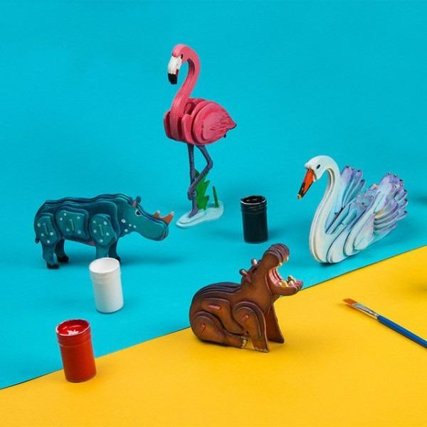 Para Colorear Dibujos Animados 3d Rompecabezas Unicornio Animales