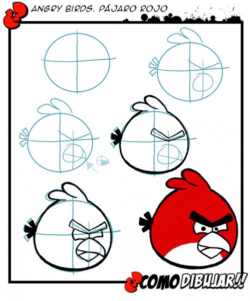 Dibujos Para Colorear De Angry Birds  Pasos Para Pintar A Red Bird